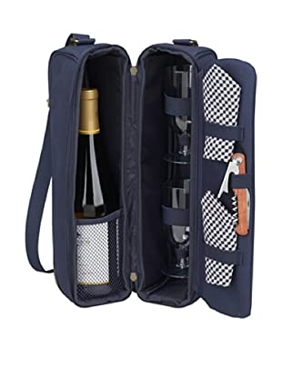 Picnic at Ascot Classic-Sunset Deluxe Wine Carrier for 2, Navy
