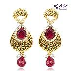 Sukkhi Delightful Gold Plated Meenari Ruby Earring [Jewellery]