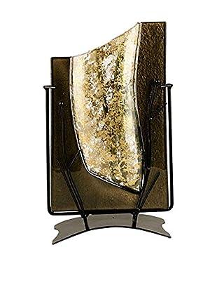 Jasmine Art Glass Rectangular Vase with Metal Stand, Gold
