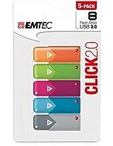 Emtec 8GB Click USB Flash Drive, 5-Pack (ECMMD8GB102P5)