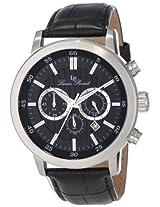 Lucien Piccard Men's 12011-01 Monte Viso Chronograph Black Textured Dial Black Leather Watch