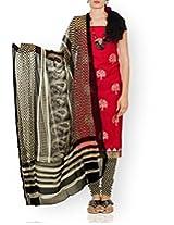 Unnati Silks Women Unstitched pink-cream handloom Mangalagiri cotton salwar Kameez