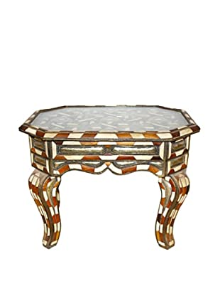 Badia Design Glass Top Metal & Bone Coffee Table, Brown/White