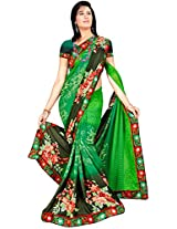 Shree Bahuchar Creation Women's Chiffon Saree(Skb49, Green)