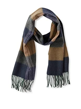 a & R Cashmere Women's Waterweave Cashmere Check Scarf, Navy/Camel