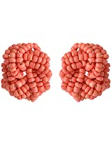 Coral by POKA Non-Precious Metal Salmon Stud Earrings for Women (Poka_J_138)
