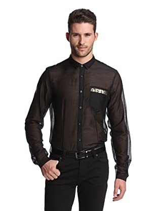 Just Cavalli Men's Snake Print Pocket Shirt (Black)