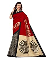 Sangam Saree Womens Maroon Black Cottan Silk Print Saree