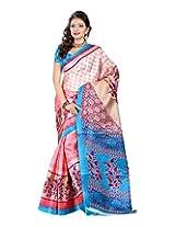Jai Maa Ambey Creation Women's Cotton Silk Saree (Pink)