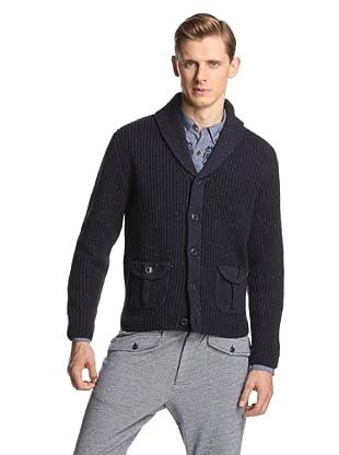 Burkman Bros Men's Marled Yarn Sweater Cardigan (Navy)