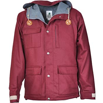 Flannel Short Parka 9001: Burgundy / Gray