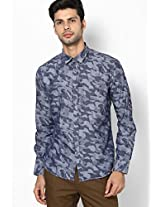 Blue Slim Fit Casual Shirt V Dot