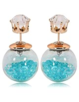 Celebrities Inspired Turquoise Blue Crystals Filled Double Bubbles Earrings By Via Mazzini