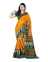 Saree Laxmi Cotton Silk Self Print Saree (M.S_5004 _Yellow)