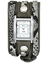 La Mer Collections Women's LMLW4045 Silver-Tone Watch with Leather Wrap-Around Bands