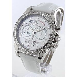 オメガ デビル コーアクシャル クロノスコープ パラジウム ダイヤベゼル レザー ホワイトシェル メンズ 422.98.41.50.05.001