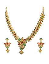 Floral Shaped Red, Green & Yellow Stone Traditional Necklace Earring Set