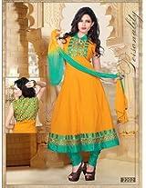 BESTBUY Yellow Designer Party Wear Anarkali Suit - XL Size