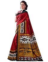 Inddus Women Red Colored Bhagalpuri Printed Sari