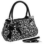 MG Collection TWEED Black & White Floral Design Purse w/Bow Accent [Apparel]