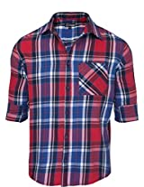 Zovi Regular Fit Casual Cotton Red And Blue Checks Shirt With Classic Buttoned Pocket - Full Sleeves