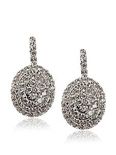 Belargo Women's Pave Drop Earrings, Silver