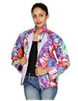 Rajrang Womens Cotton Jacket -Purple, White -Medium
