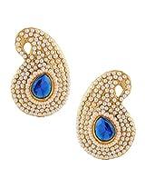 Ethnic india bollywood classic white paisley pearl blue stone earringSAEA0950BL
