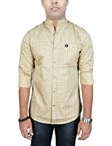 AA' Southbay Men's Beige Star Printed 100% Premium Cotton Mandarin Collar Long Sleeve Solid Casual Shirt