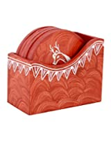 Classic Wooden Coasters Rust Hand Painted Deer By Rajrang