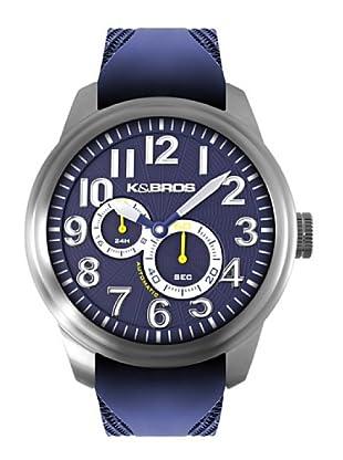 K&BROS 9460-3 / Reloj de Caballero  con correa de caucho Azul