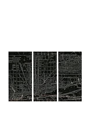 Oliver Gal Chicago Railroad Triptych Canvas Art