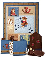 Lambs & Ivy Giddy Up 5 Piece Crib Bedding Set, Brown/Blue