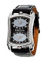 Exotica Black Leather Analog Men Watch EX 40 DUAL B