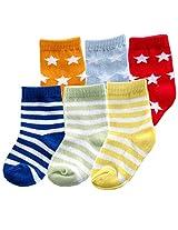6pk Fun Stripe Combo Socks, Blue, 12-24 Months