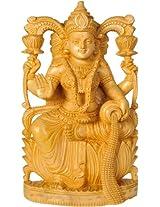 Goddess Lakshmi with Wealth Pot - White Cedar Wood from Trivandrum