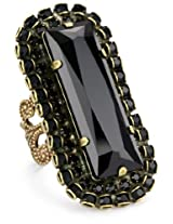 "Liz Palacios ""Orient Express"" Rectangular Jet Crystal Adjustable Ring"