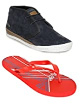 Gas Brixton Navy Blue Men Casual Shoes with Lotto Slippers