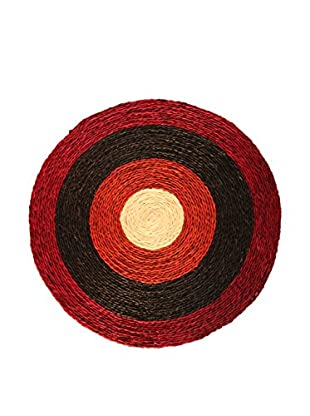 Asian Loft Hand-Woven Red Grass Wicker Round Mat, Red/Black/White