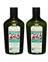 Avalon Organics All Natural Tea Tree Scalp Treatment Shampoo and Conditioner With Aloe, Lavender, Chamomile and Babassu Oil, Sulfate Free, Paraben Free, Cruelty Free and Vegan, 11 fl. oz. each