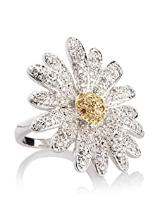 CZ by Kenneth Jay Lane Spring Daisy Ring, Silver/Gold, Size 6