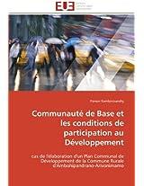 Communaute de Base Et Les Conditions de Participation Au Developpement (Omn.Univ.Europ.)