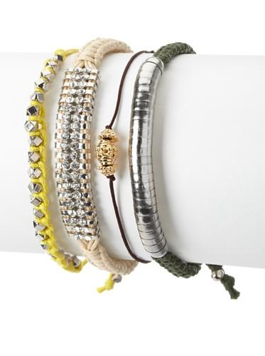 Shashi Bright Stacking Adjustable Bracelet Set, Yellow