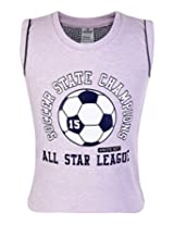 Ollypop Sleeveless T Shirt with Football Print - Light Purple