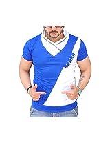 Black Collection Men's V-Neck Cotton T-Shirt (BCSA0016_Blue_Large)