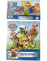 Bundle 1 Paw Patrol 4 Puzzle Pack & 1 Paw Patrol 24 Piece Shaped Puzzle