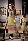 Beautiful Beige And Black Anarkali Semi Stitched Salwar Suit