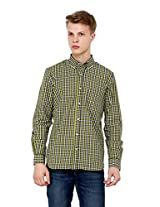 Rigo Yellow and Navy Gingham Check Shirt (Large)