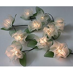Fabric flowers fairy lights - Water Lilies