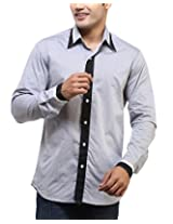 See Designs Men Buttoned Shirt (SDMDWSS14SH117_XS, GREY, XS)